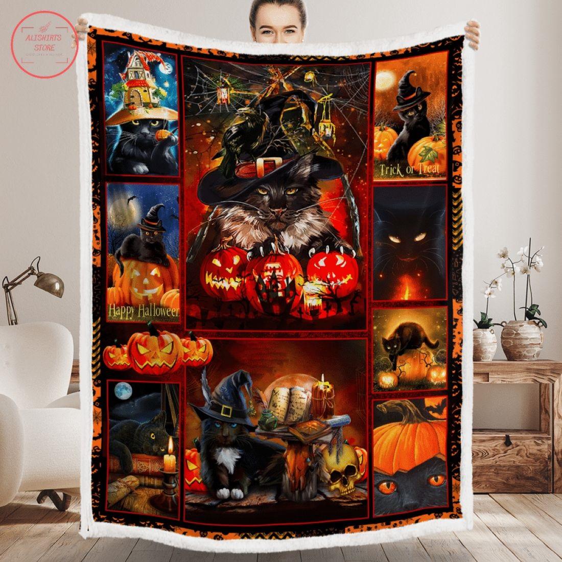 Black Cat Happy Halloween Blanket