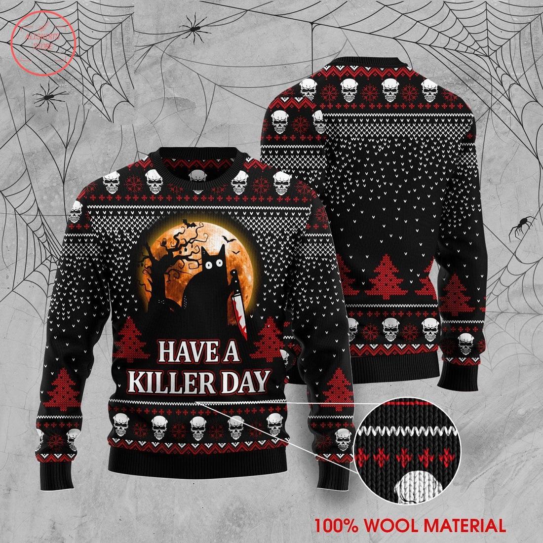 Black Cat Have Killer Day Halloween Sweater