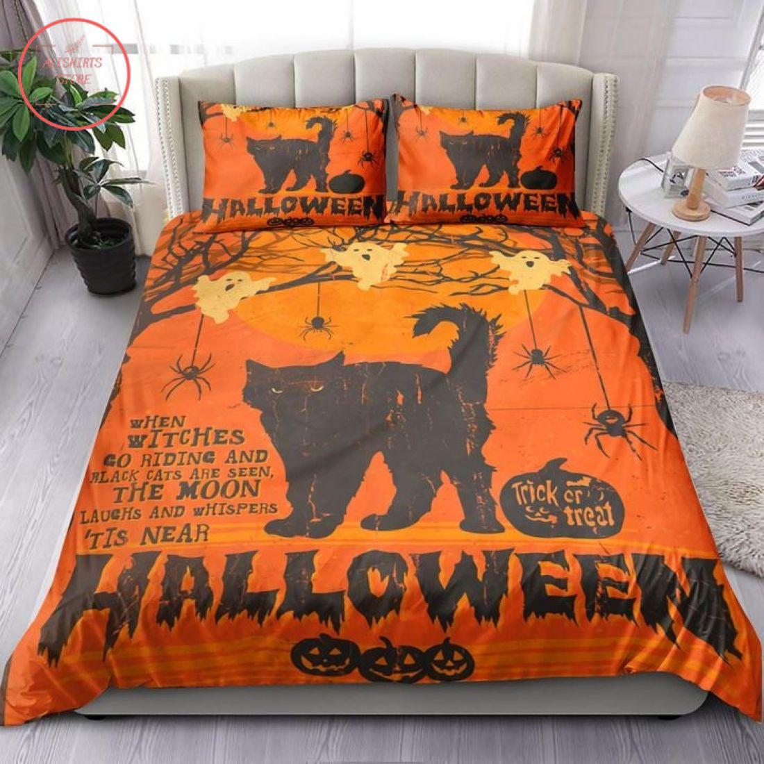 Black Cat Orange Background Halloween Blanket