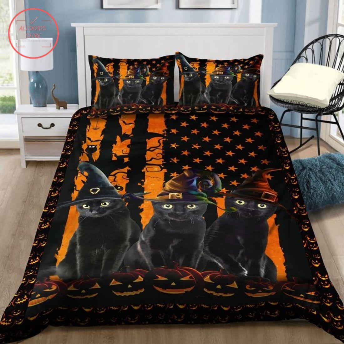 Black Witch Cat America Halloween Blanket