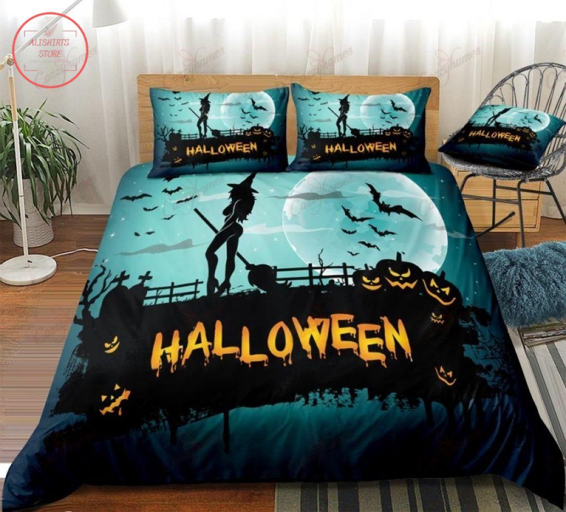 Blue Night Moon Halloween Pumpkin Lantern Blanket