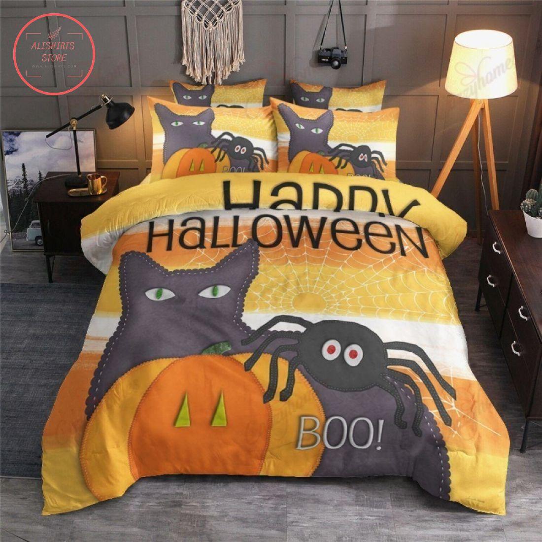 Boo Cat Pumpkin Spider Halloween Blanket