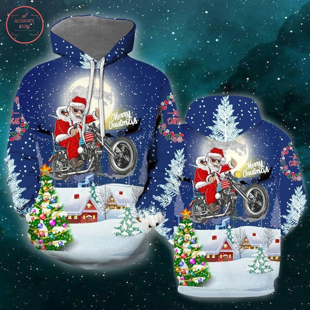 Christmas Driving With Santa Shirt and Hoodie