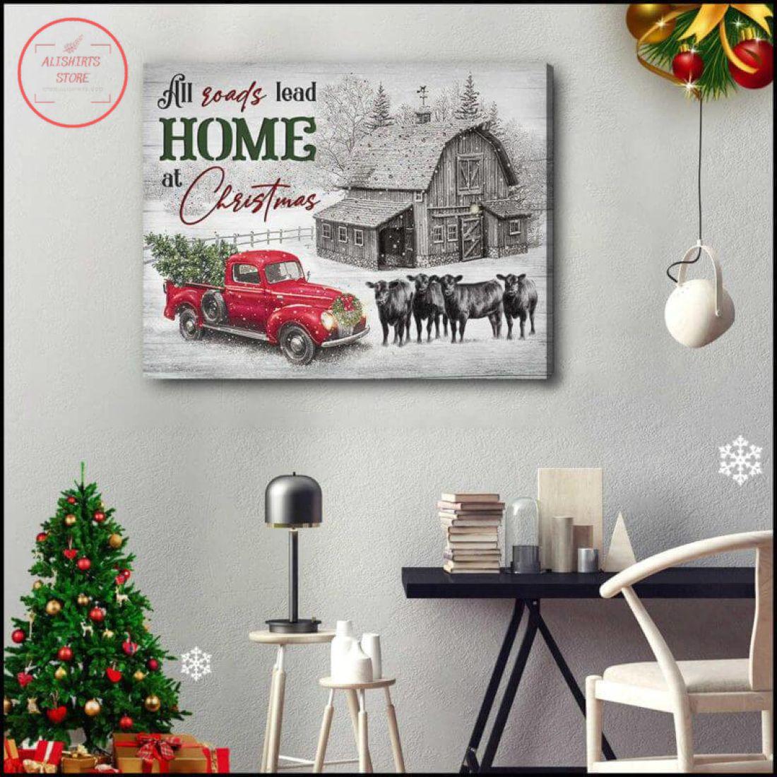 Christmas Farmhouse & Cows All Roads Lead Home Canvas