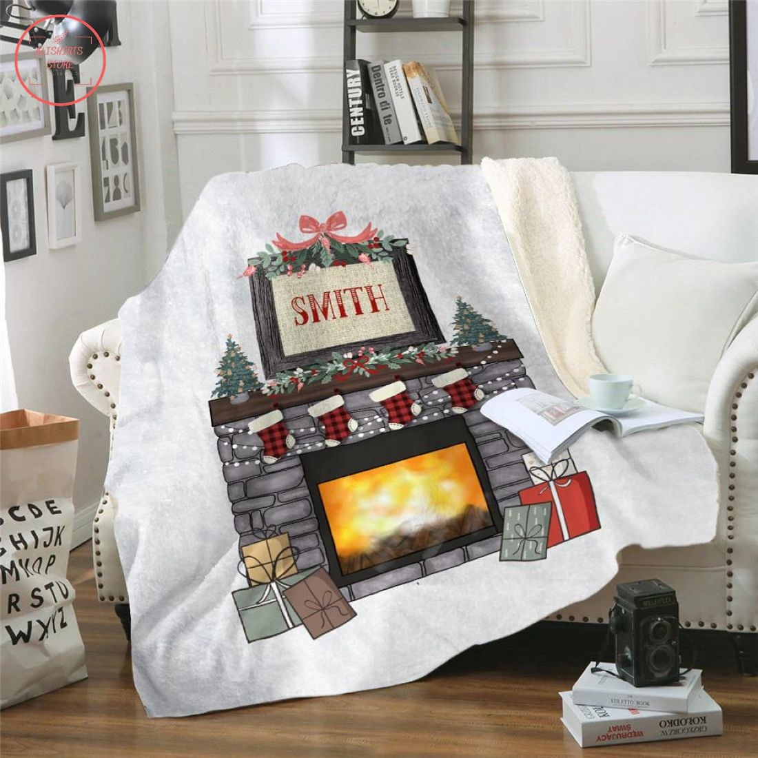 Christmas Fireplace Personalized Blanket