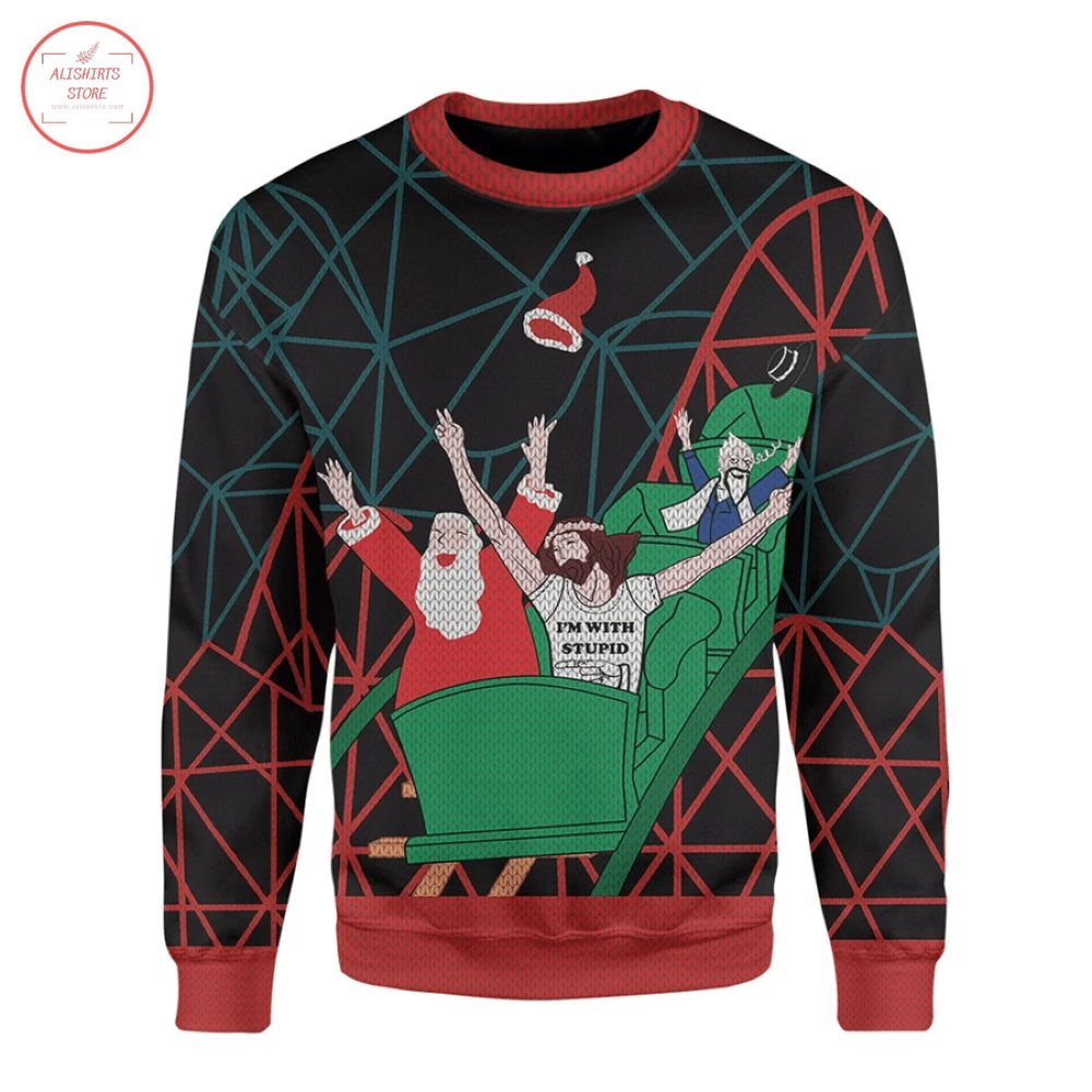 Christmas Ugly Santa And Jesus Jumper Sweater