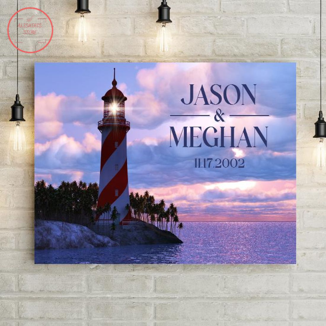 Couple's Lighthouse In Sunset Personalized Premium Canvas