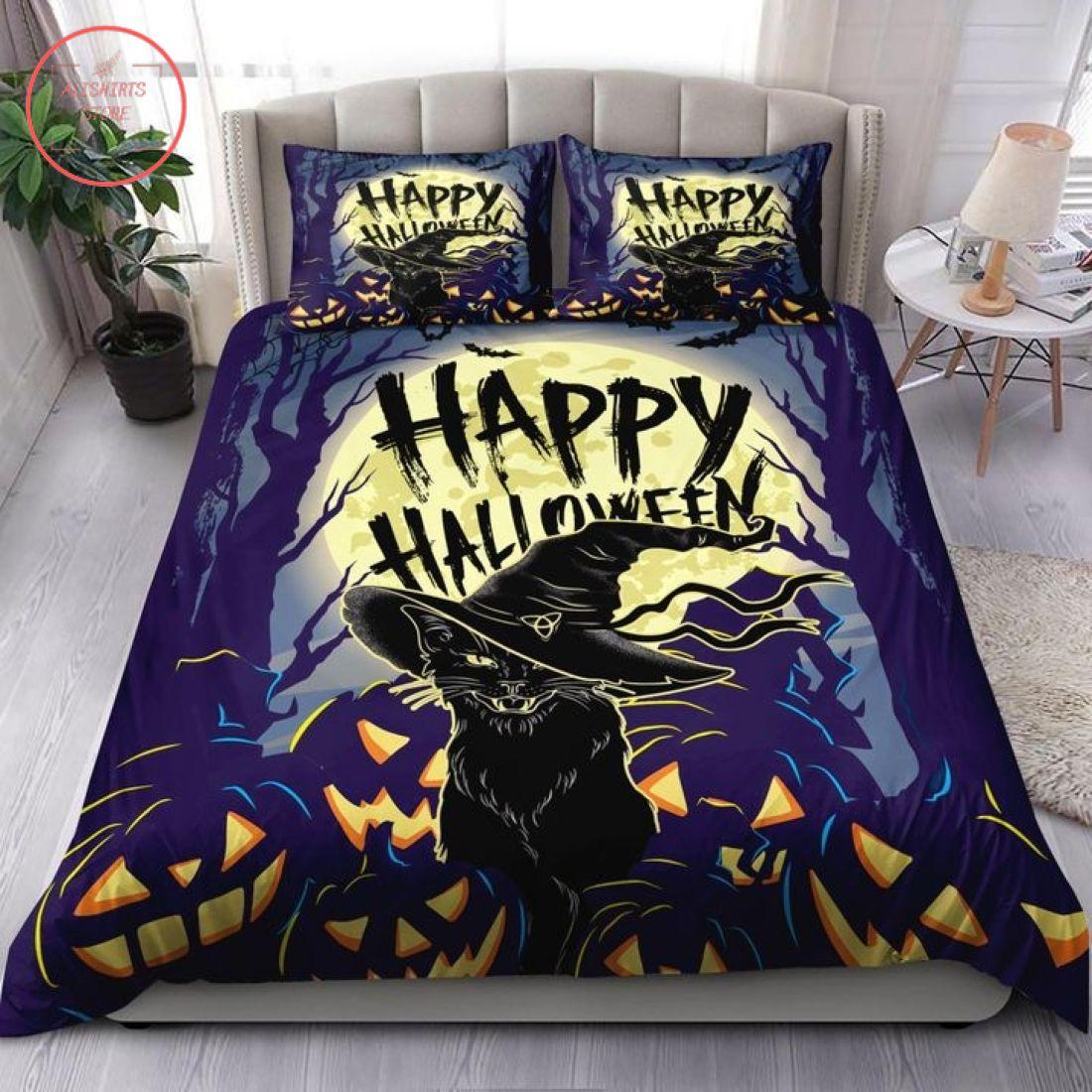 Creepy Black Cat Halloween Blanket
