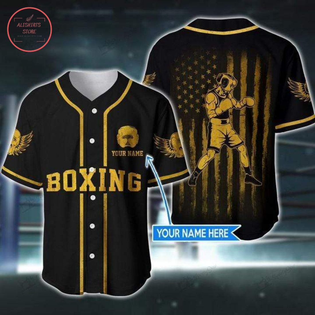 Custom American Boxing Yellow Black Baseball Jersey