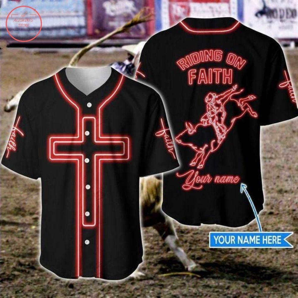 Custom Bull Riding On Faith Jesus Baseball Jersey