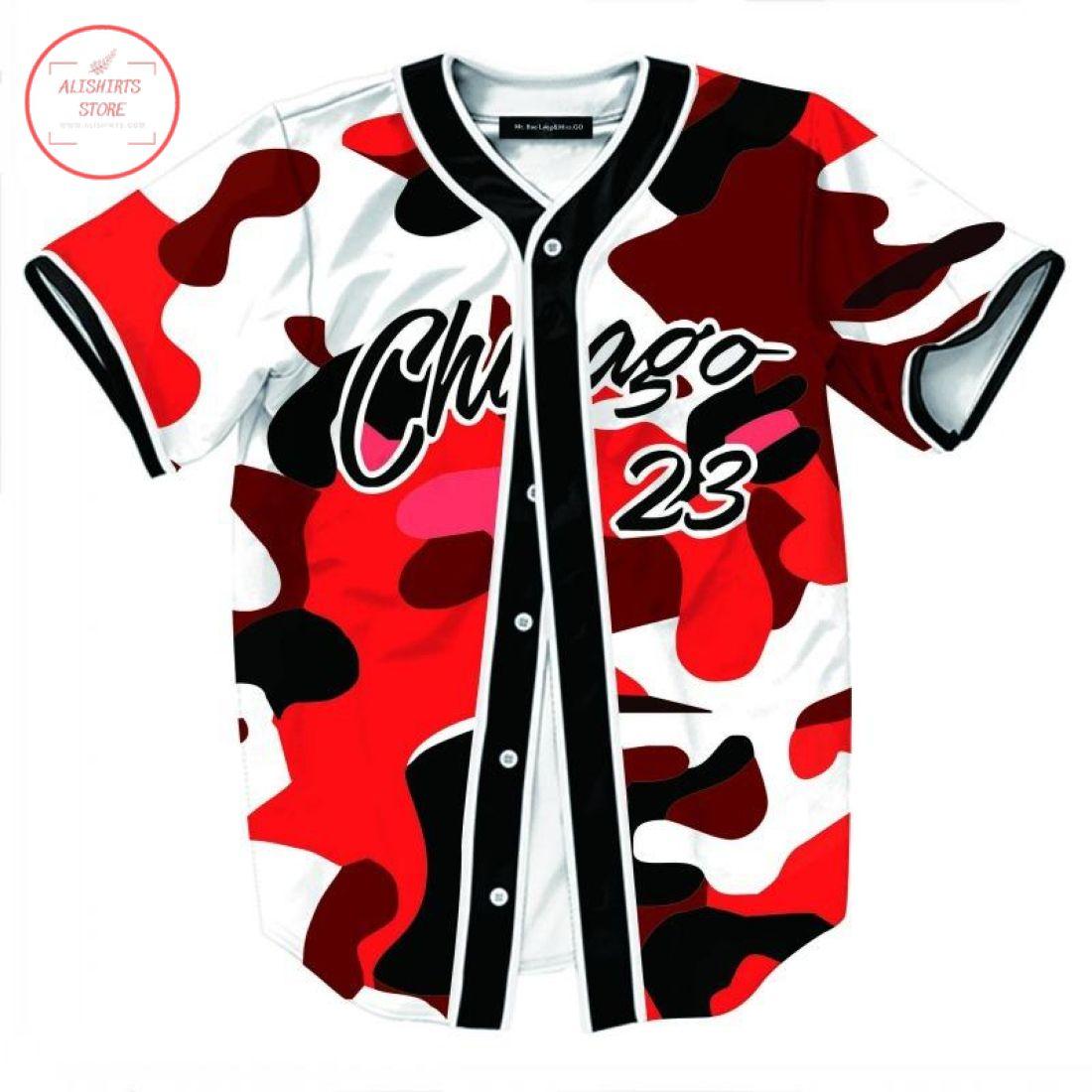 Custom Chicago 23 Camo Baseball Jersey