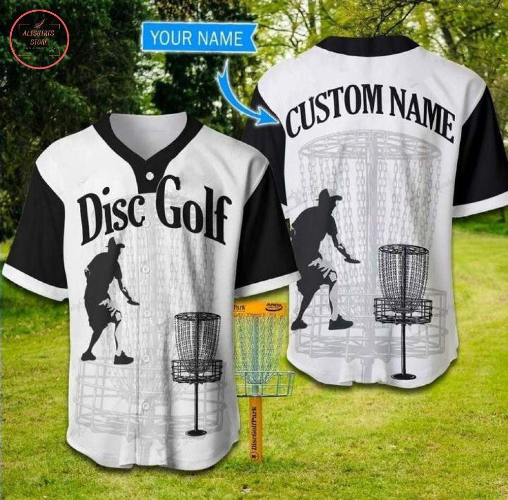 Custom Disc Golfer Black And White Baseball Jersey