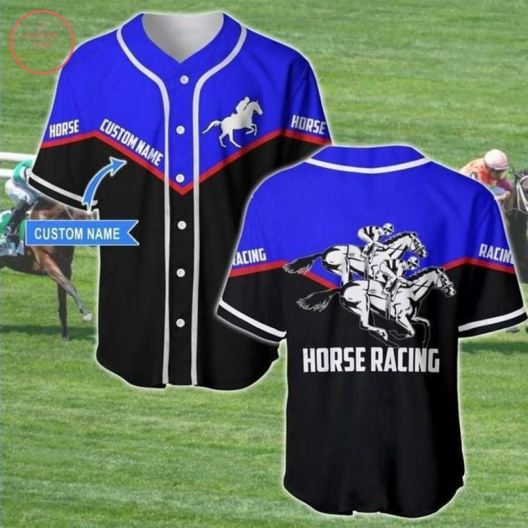 Custom Horse Racing Black And Blue Baseball Jersey