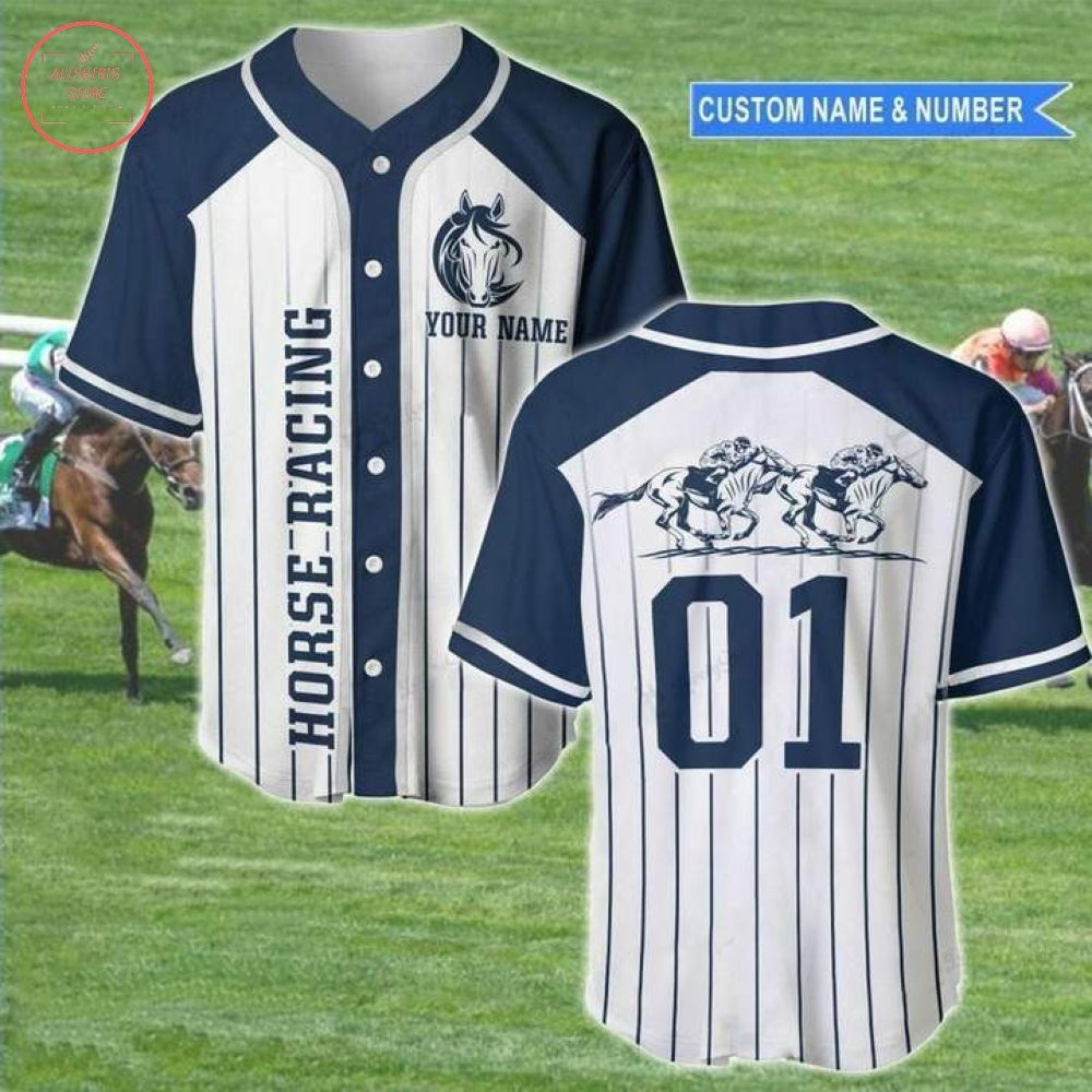 Custom Horse Racing Line Baseball Jersey