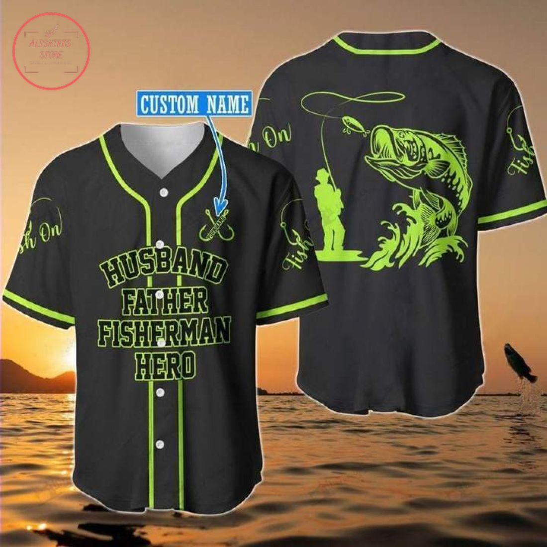 Custom Husband Father Fisherman Hero Baseball Jersey