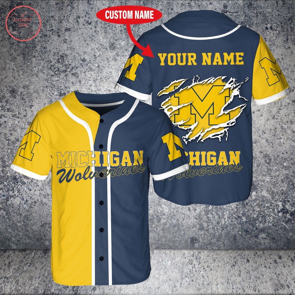 Custom Name NCAA Michigan Wolverines Baseball Jersey