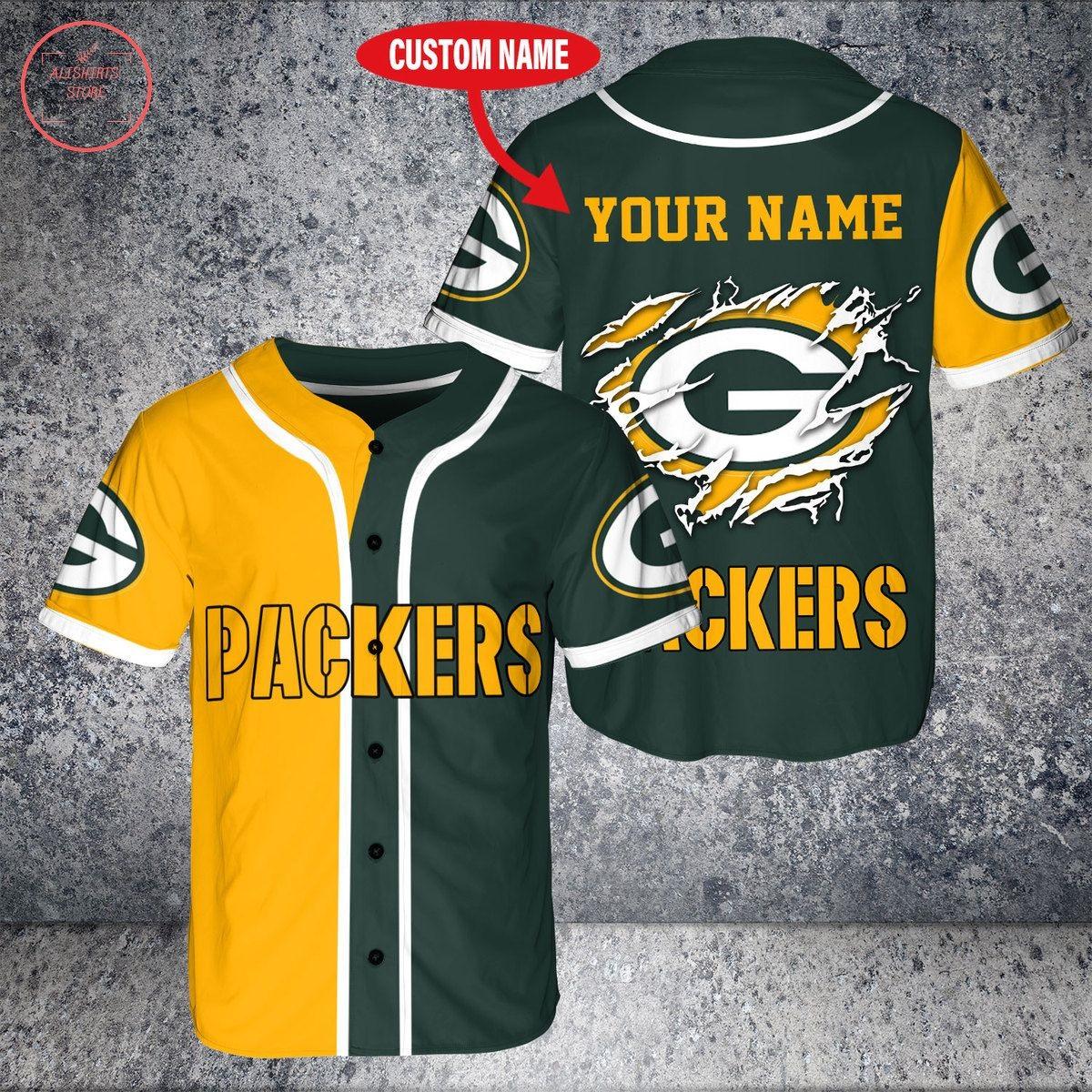 Custom Name NFL Green Bay Packers Baseball Jersey