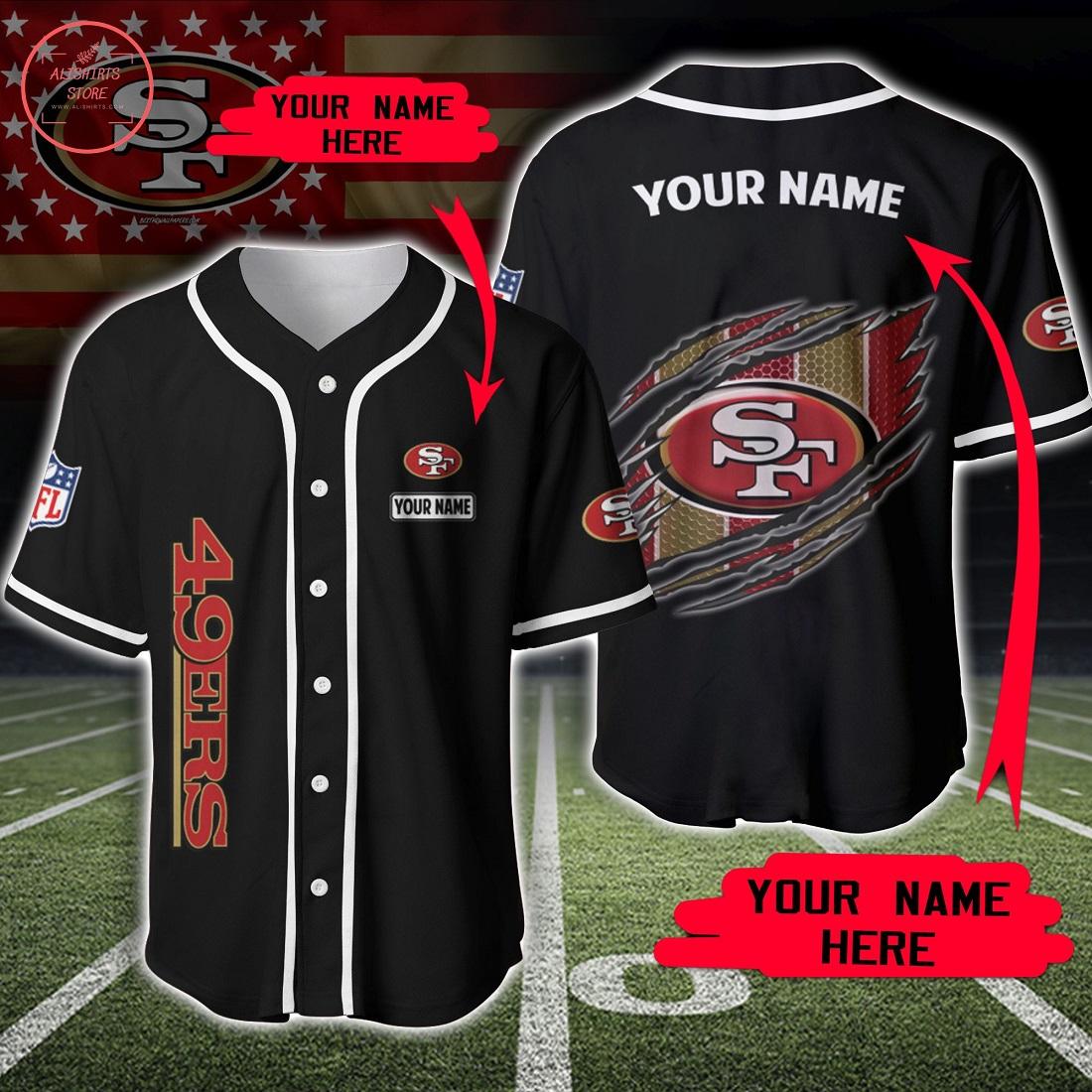 Custom Name NFL San Francisco 49ers Baseball Jersey