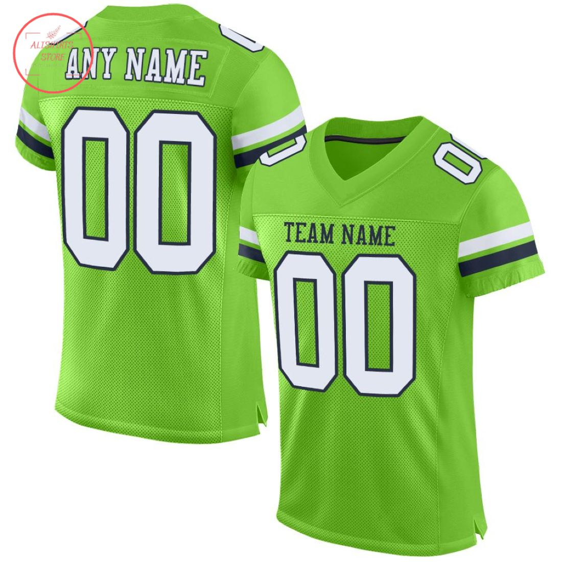 Custom Neon Green White navy Football Jersey