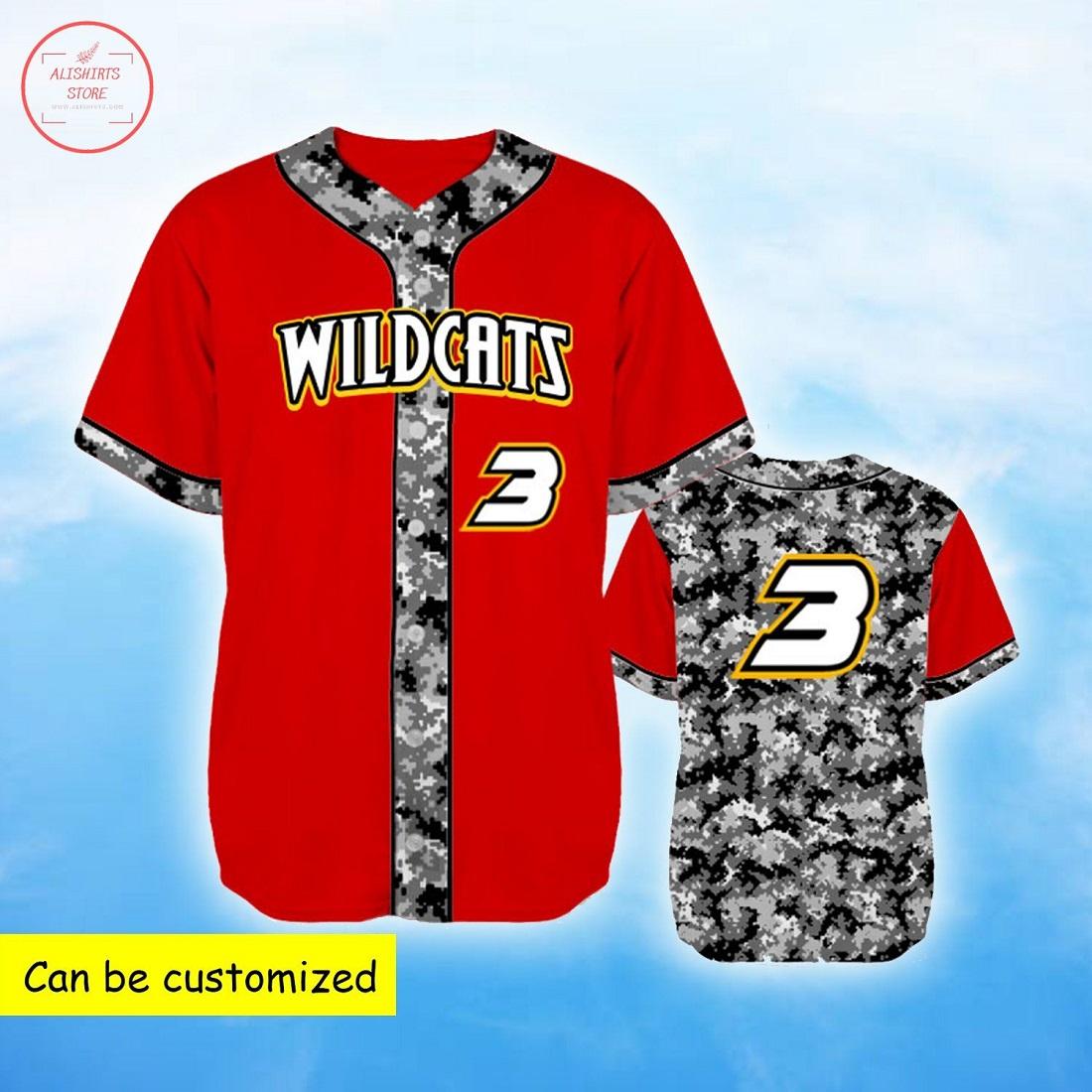 Custom Wildcats Grey Camo Red Baseball Jersey