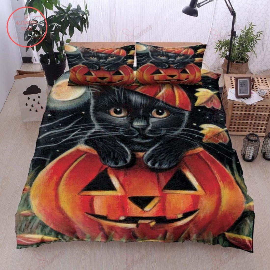 Cute Black Cat In Pumpkin Halloween Blanket