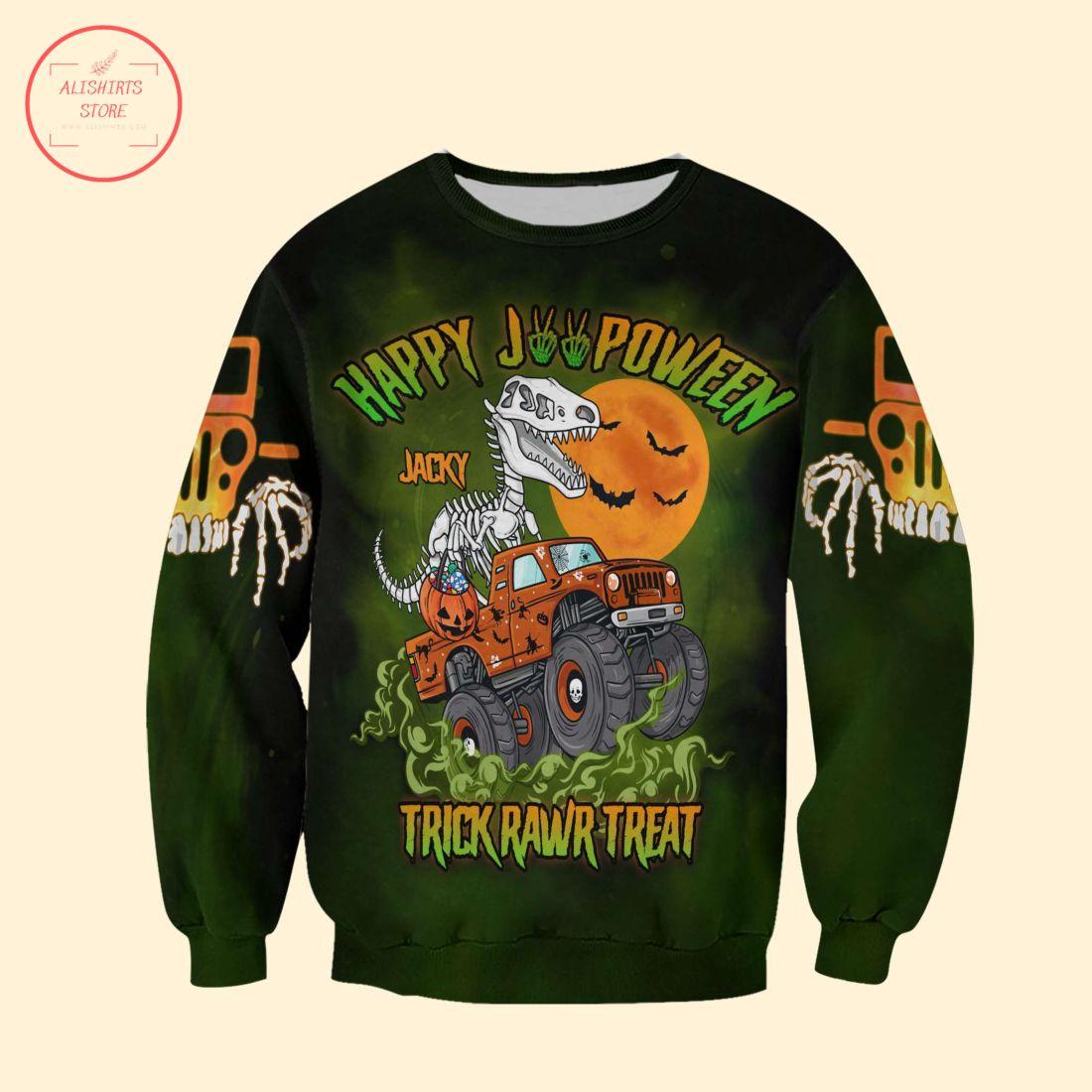Dinosaur Sekeleton Trick Rawr Treat Halloween Shirt