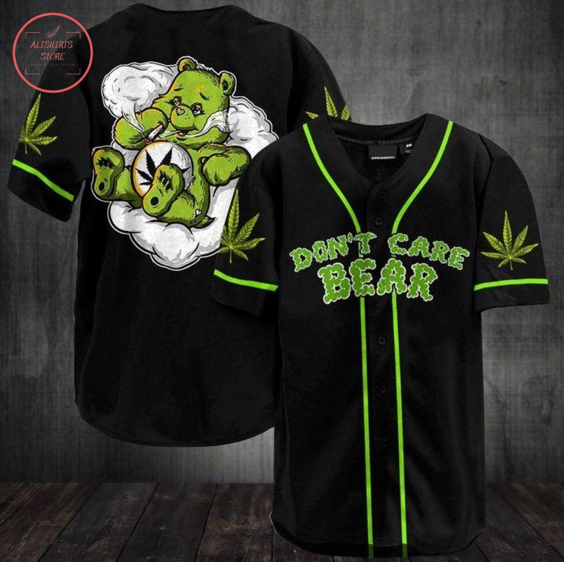 Don't Care Smoking Bear Baseball Jersey