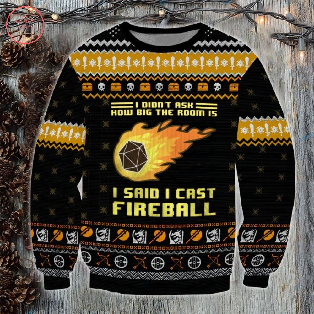 Dungeons and Dragons I Cast Fireball Ugly Christmas Sweater