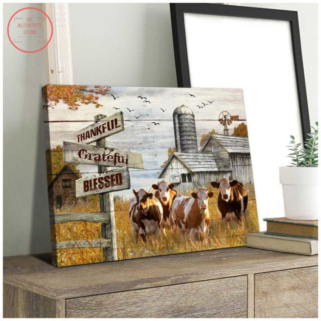 Farmhouse Hereford Cows Thankful Grateful Blessed Christmas Canvas
