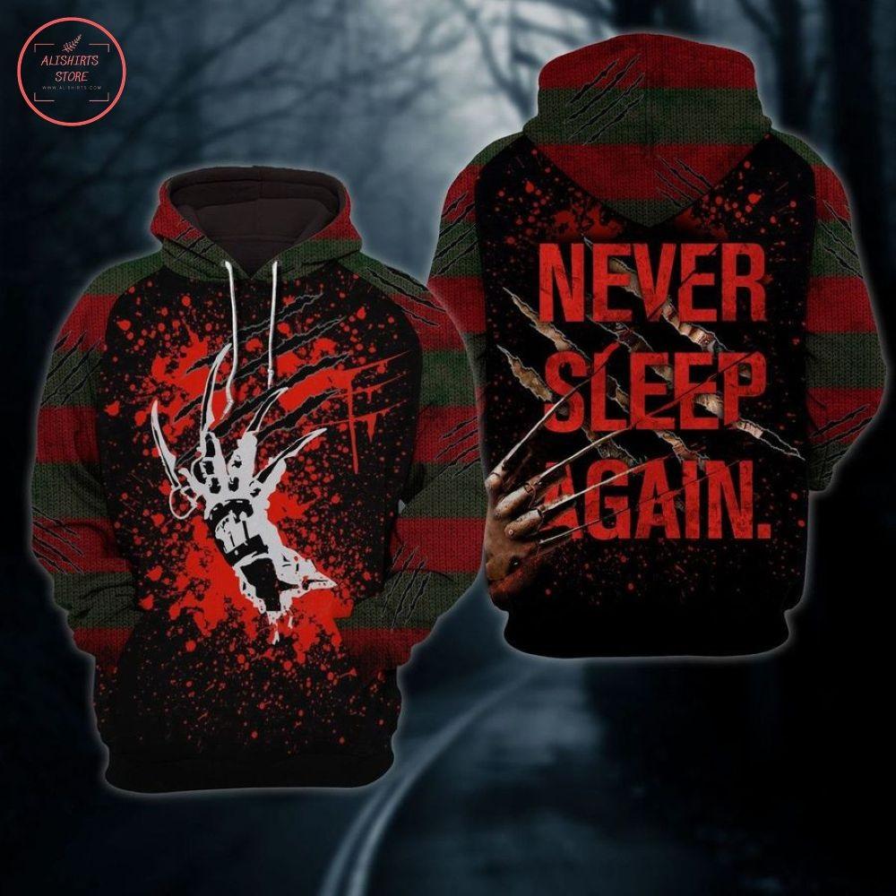 Freddy Krueger Never Sleep Again Horror Halloween Hoodie