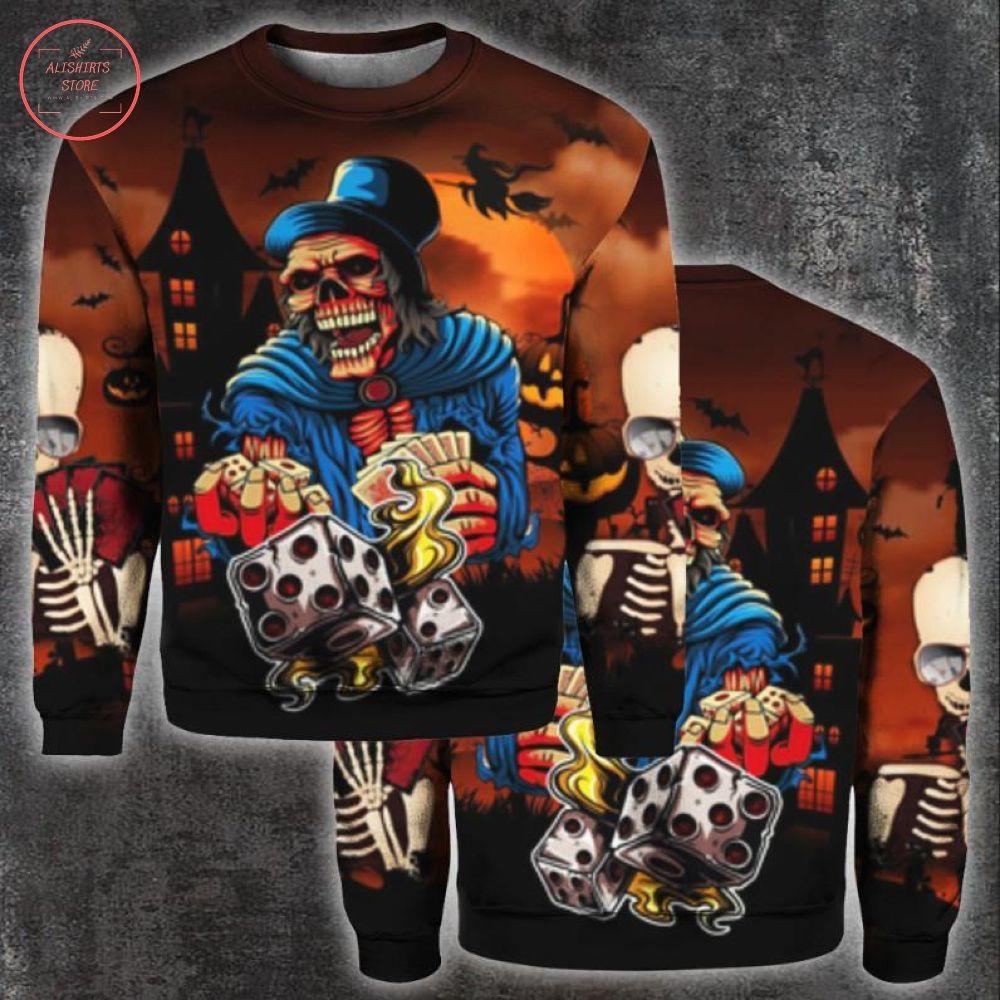 Gambling Skeleton Skull Halloween Shirt and Hoodie