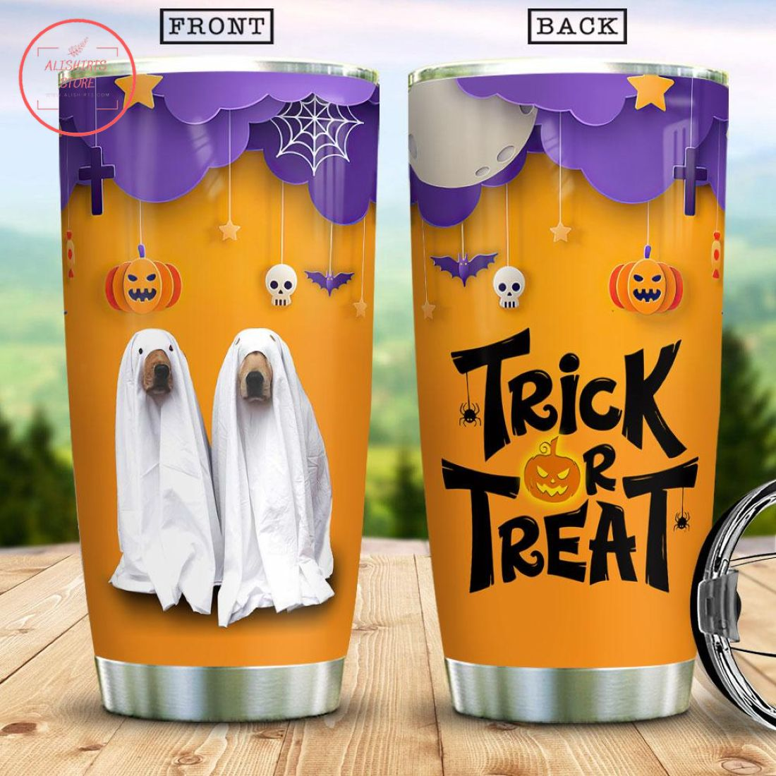 Ghost Dog Witch Boo Ghost Scary Pumpkin Halloween Tumbler