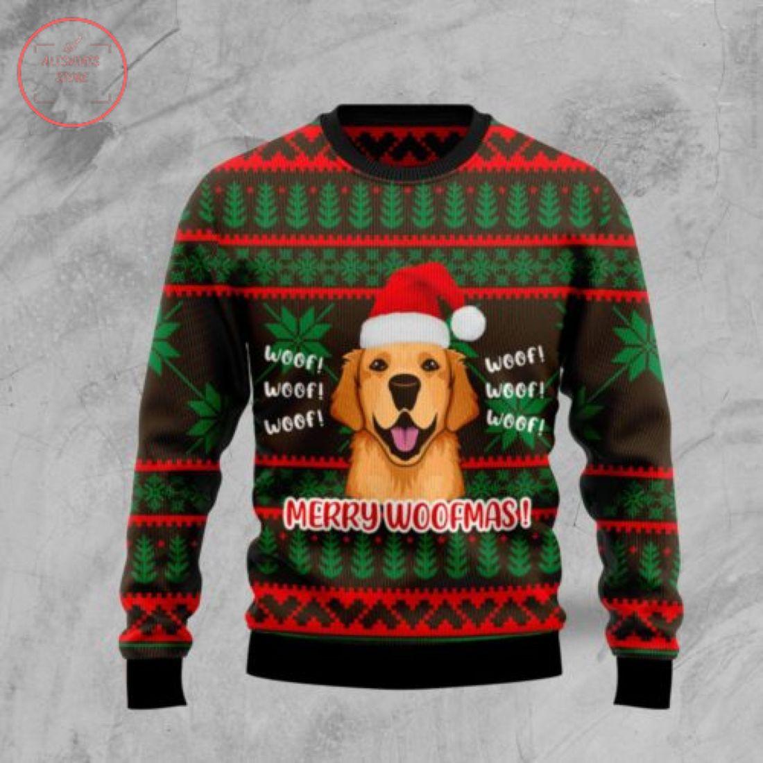 Golden Retriever Merry Woofmas Christmas Sweater