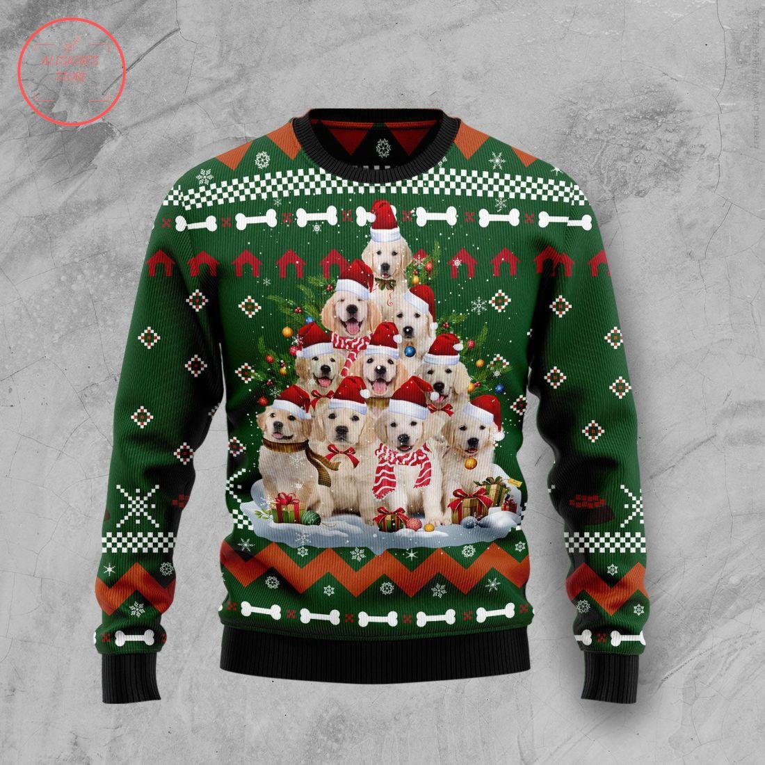 Golden Retriever Pine Tree Christmas Wool Sweater