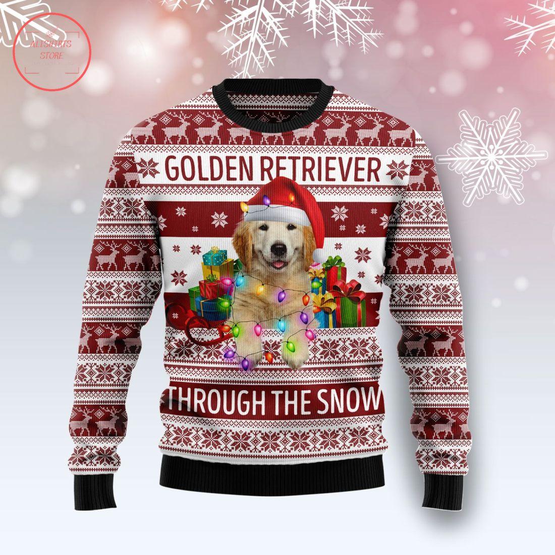 Golden Retriever Through The Snow Christmas Wool Sweater