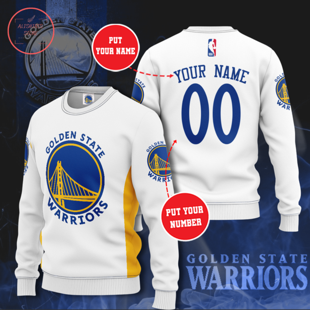 Golden State Warriors White Personalized Sweater