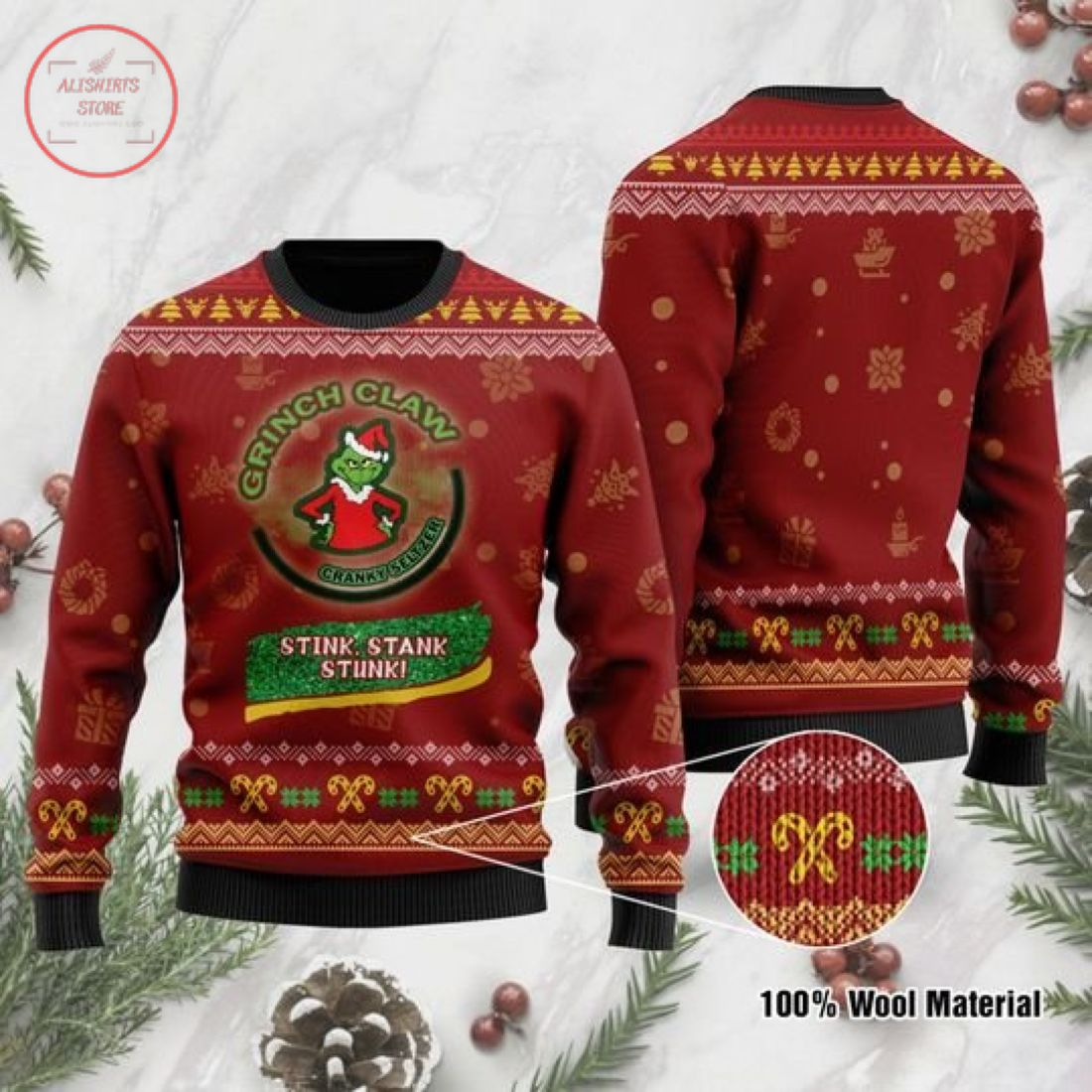 Grinch Claw Stink Stank Stunk Ugly Christmas Sweater