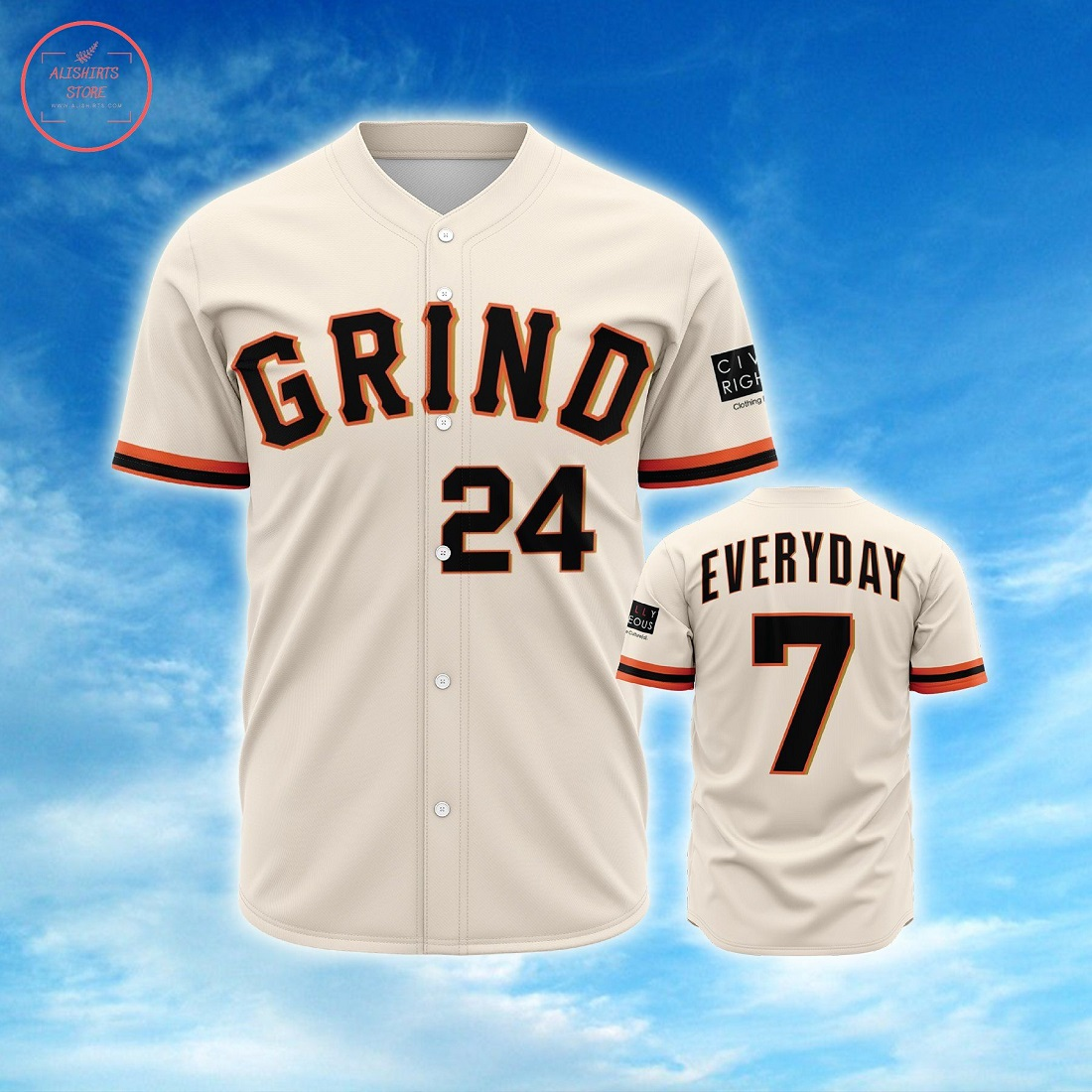 Grind Everyday Personalized Baseball Jersey