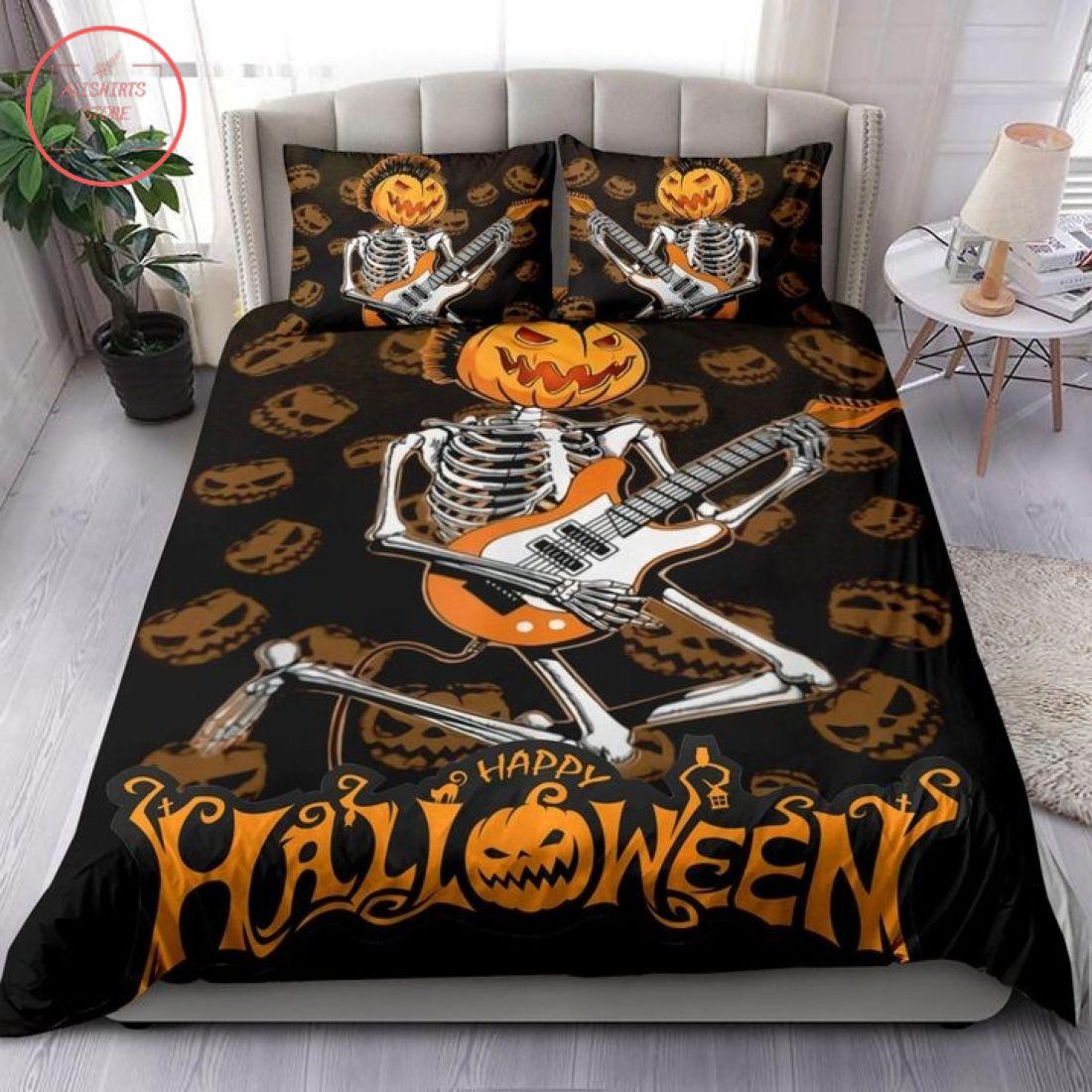 Guitar Skeleton With Pumpkin Head Halloween Blanket