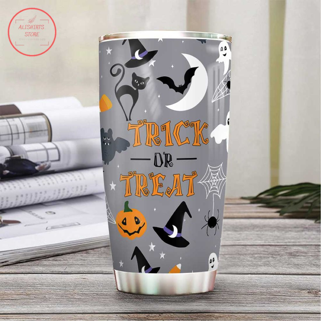 Halloween Boo Witch Cat Trick Or Treat Tumbler