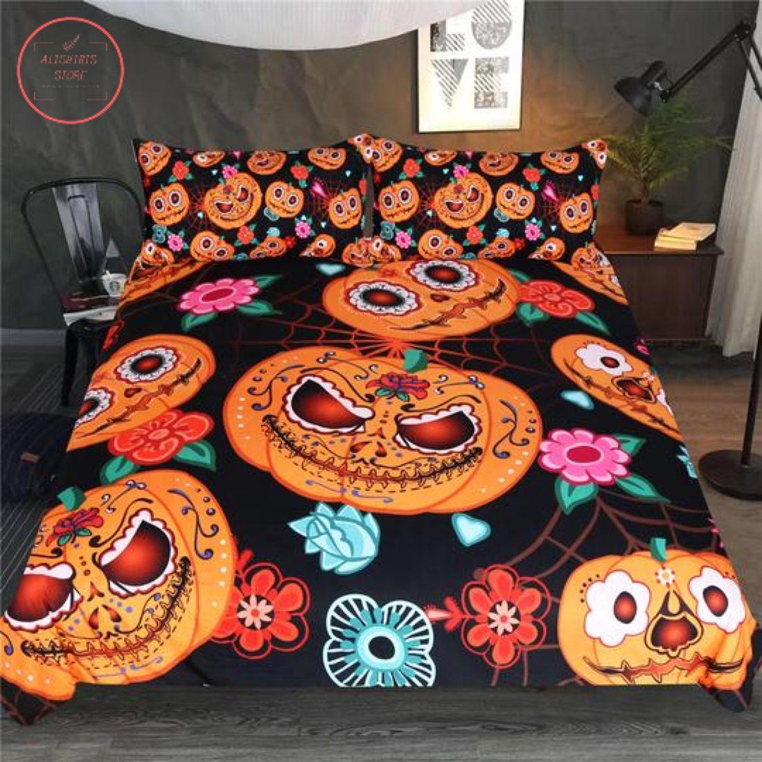 Halloween Colorful Pumpkins Duvet Bedding Set