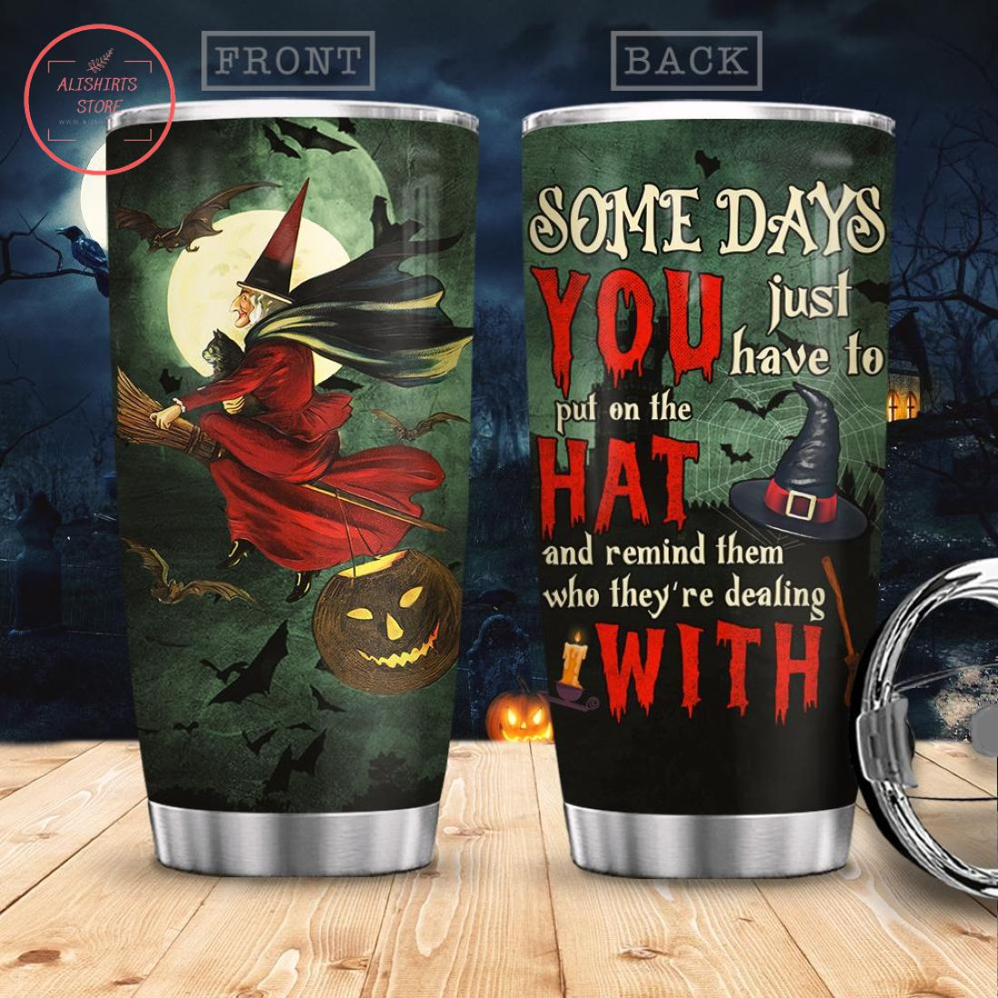 Halloween Witch With Hat Stainless Steel Tumbler