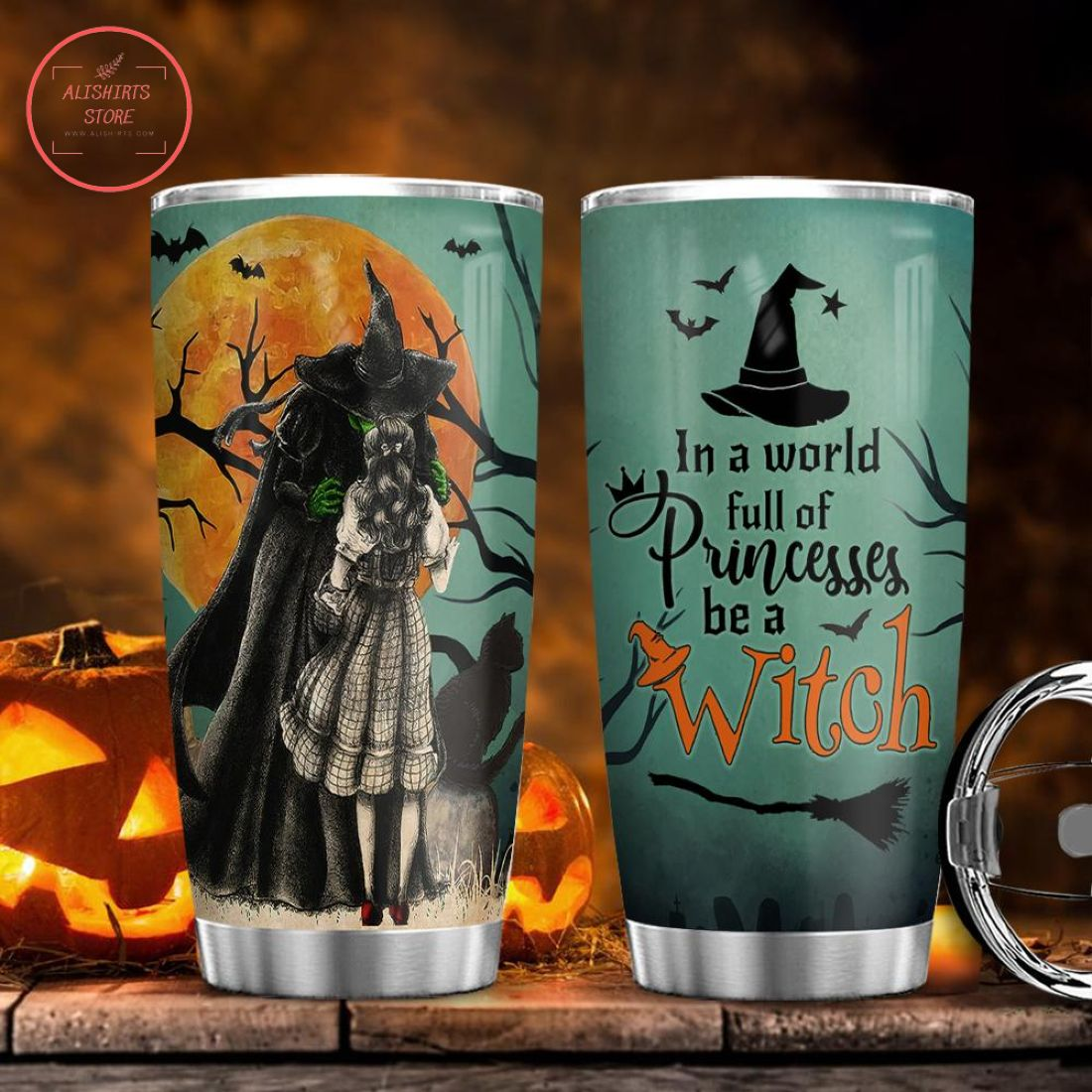 Halloween Witch in a World full Stainless Steel Tumbler