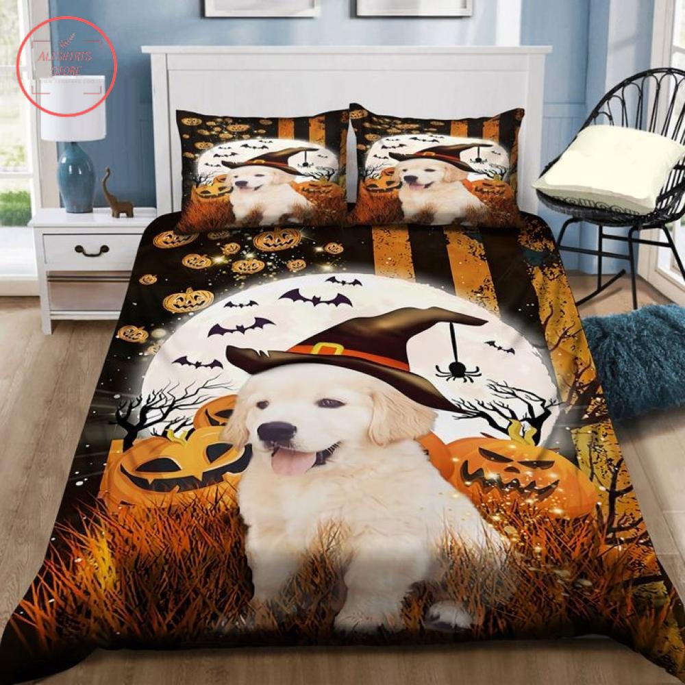 Happy Golden Puppi Retriever Halloween Blanket
