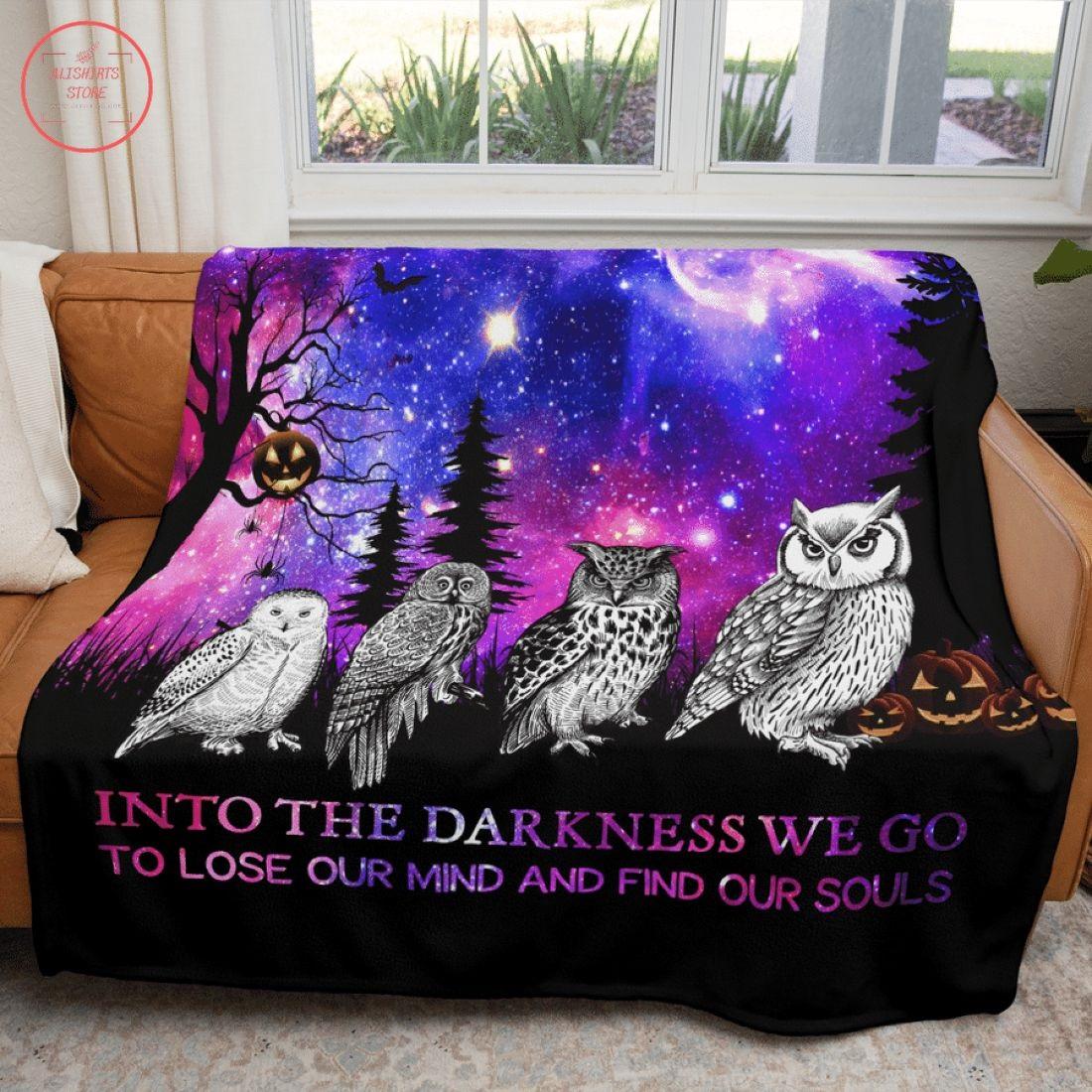 Into The Darkness Owl Halloween Fleece Blanket