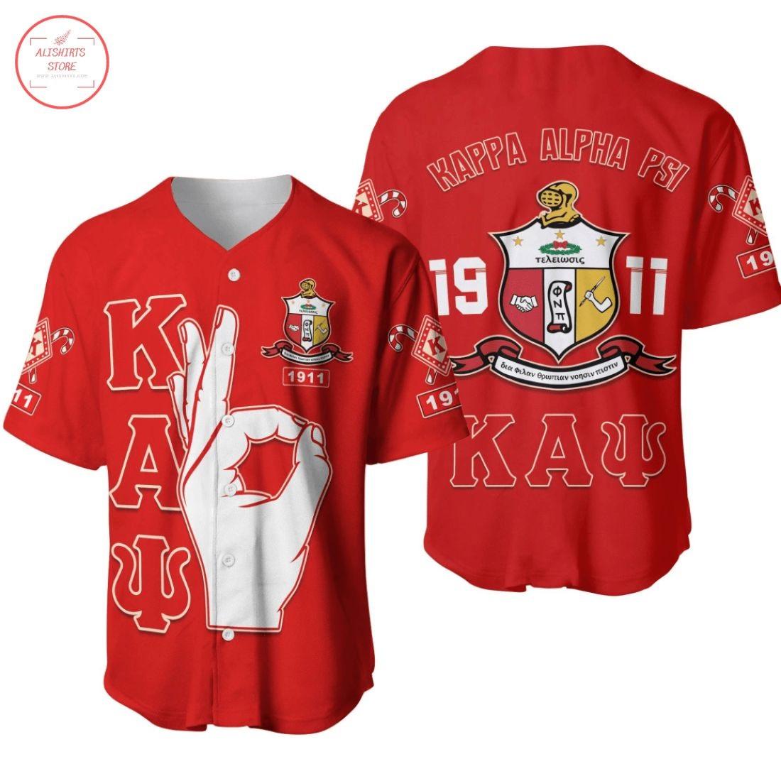 Kappa Alpha Psi 1911 Crest Hand Signal Baseball Jersey
