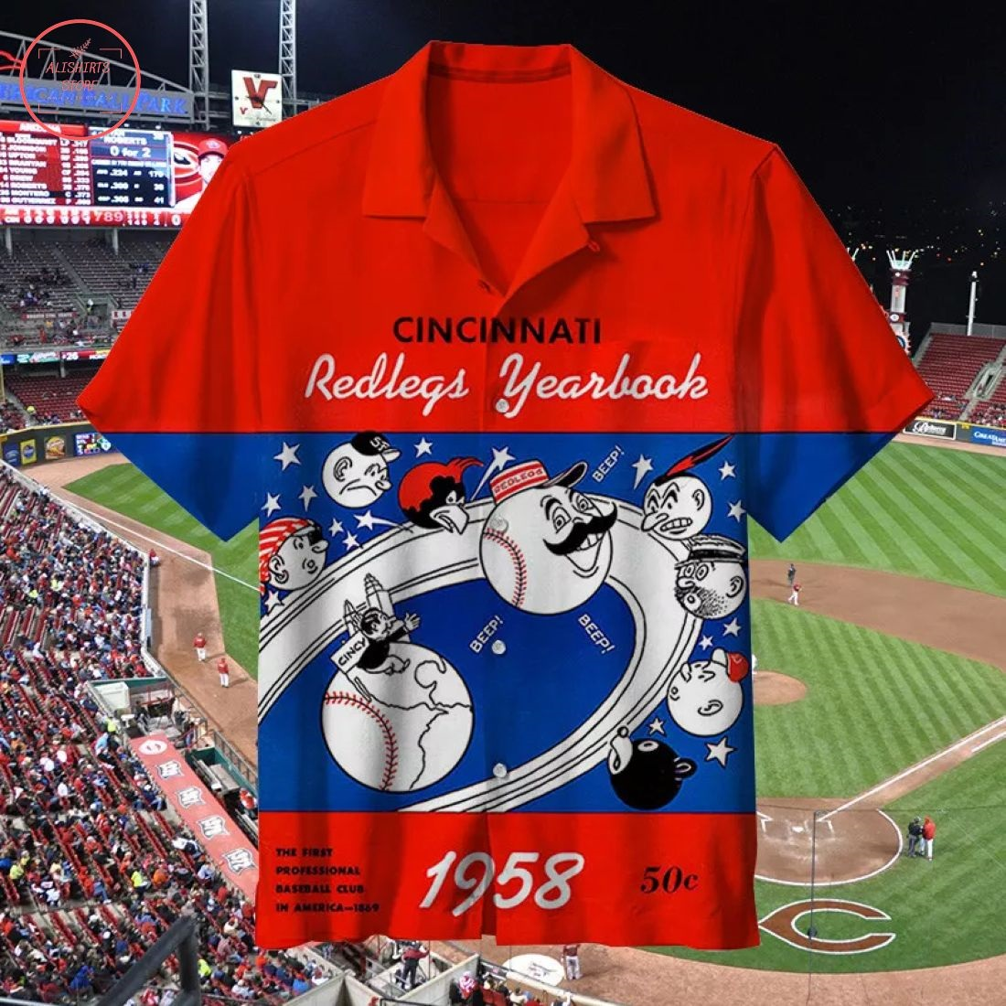 MLB 1958 Cincinnati Reds Retro Hawaiian Shirt