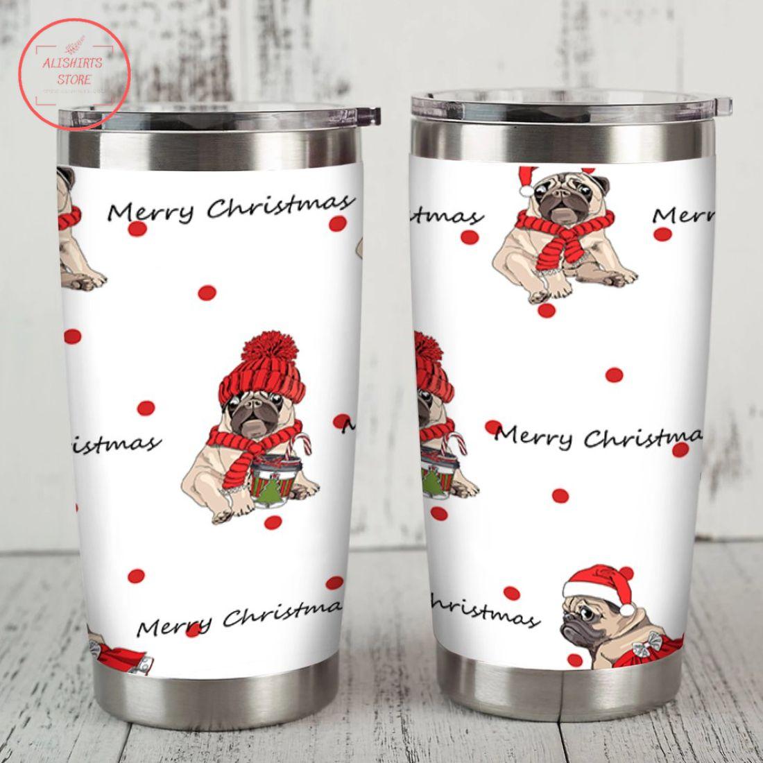 Merry Christmas Pug Dog Stainless Tumbler
