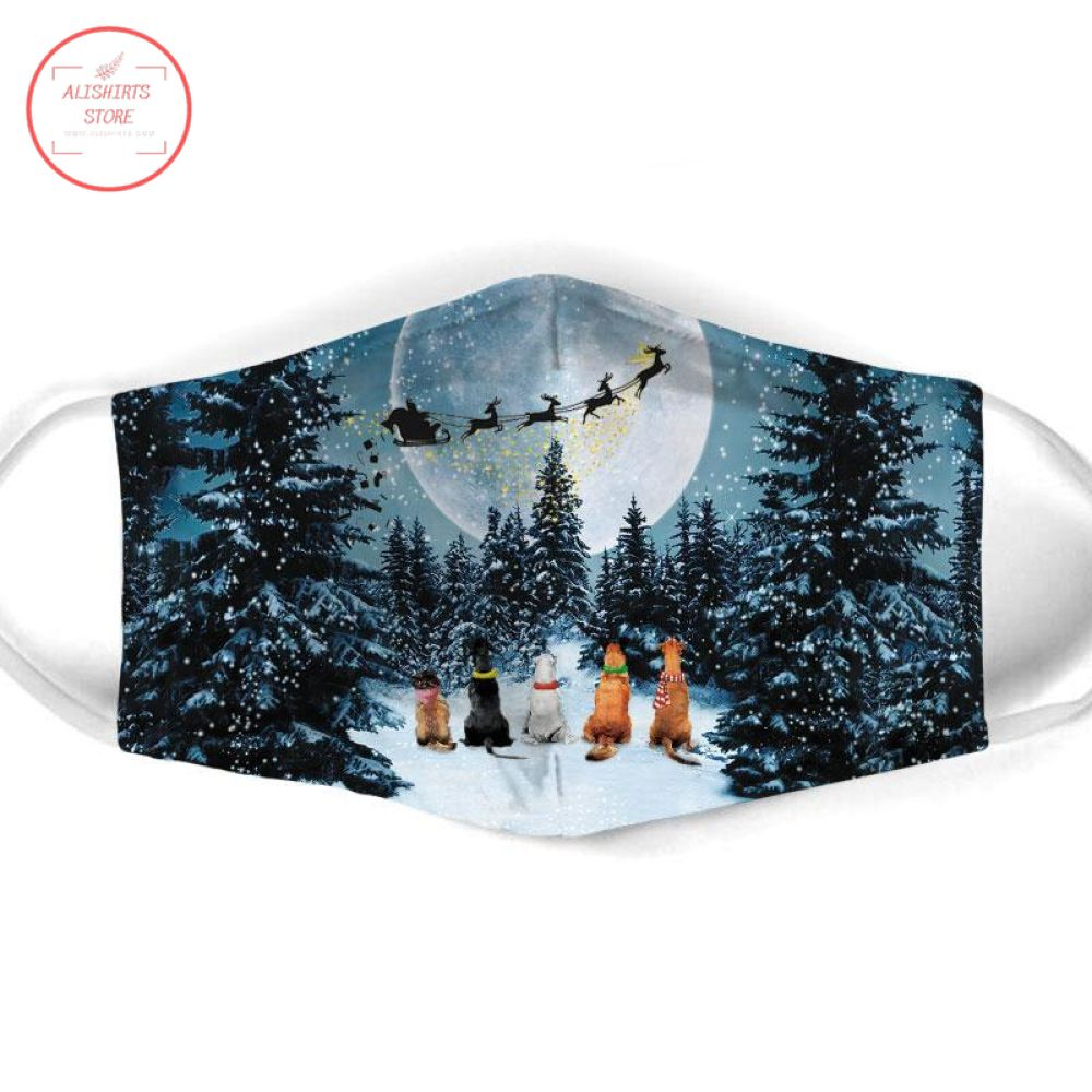 Merry Christmas with Dog Face Mask
