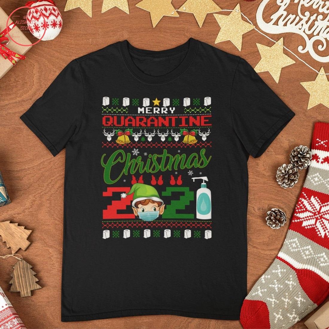 Merry Quarantine Christmas 2021 Funny T-Shirt
